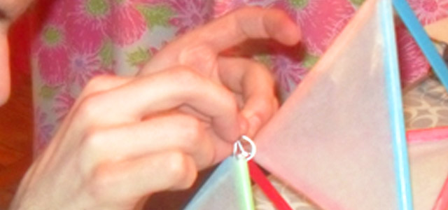 Close up making a kite