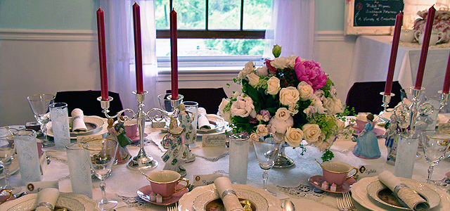 May Table Centerpiece Holiday & Hearth Holiday and Hearth Lisa Novelline Lisa Anne Novelline author writer The Dance of Spring craft blog creative blog creativity vintage roses blog festival celebration seasons nature blog spring equinox easter ostara oestre beltane may day tablescape table decor Victorian sterling silver silverplate silver plate elegant chic shabby cottage french romantic alencon lace napkin holders raised pedestal floral centerpiece dancing figures lefton candleabra crochet cameo hurdy gurdies toffees lace tumblers sugar cubes heart tea cups Victorian Trading beeswax tapers lovebird placecard holders