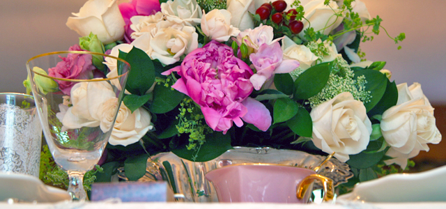 May Table Floral Centerpiece Holiday & Hearth Holiday and Hearth Lisa Novelline Lisa Anne Novelline author writer The Dance of Spring craft blog creative blog creativity vintage roses blog festival celebration seasons nature blog spring equinox easter ostara oestre beltane may day tablescape table decor Victorian sterling silver silverplate silver plate elegant chic shabby cottage french romantic alencon lace napkin holders raised pedestal floral centerpiece dancing figures lefton candleabra crochet cameo hurdy gurdies toffees lace tumblers sugar cubes heart tea cups Victorian Trading beeswax tapers lovebird placecard holders
