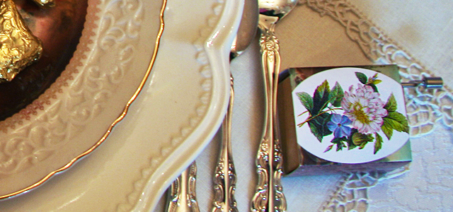 May Table Hurdy Gurdy Holiday & Hearth Holiday and Hearth Lisa Novelline Lisa Anne Novelline author writer The Dance of Spring craft blog creative blog creativity vintage roses blog festival celebration seasons nature blog spring equinox easter ostara oestre beltane may day tablescape table decor Victorian sterling silver silverplate silver plate elegant chic shabby cottage french romantic alencon lace napkin holders raised pedestal floral centerpiece dancing figures lefton candleabra crochet cameo hurdy gurdies toffees lace tumblers sugar cubes heart tea cups Victorian Trading beeswax tapers lovebird placecard holders