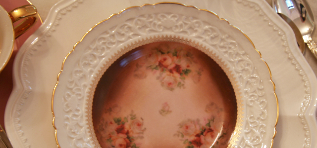 May Fair Table Plates Holiday & Hearth Holiday and Hearth Lisa Novelline Lisa Anne Novelline author writer The Dance of Spring craft blog creative blog creativity vintage roses blog festival celebration seasons nature blog spring equinox easter ostara oestre beltane may day tablescape table decor Victorian sterling silver silverplate silver plate elegant chic shabby cottage french romantic alencon lace napkin holders raised pedestal floral centerpiece dancing figures lefton candleabra crochet cameo hurdy gurdies toffees lace tumblers sugar cubes heart tea cups Victorian Trading beeswax tapers lovebird placecard holders